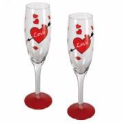 Бокалы для шампанского с сердцами