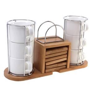 Чайный набор из дерева 12 предметов с салфетницей на 6 персон