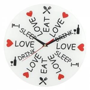 Часы Love. Eat. Drink. Sleep Стеклянные
