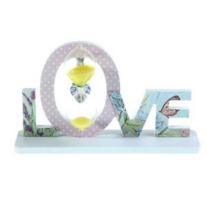 Часы песочные на подставке Love