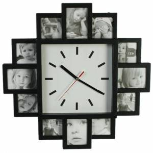Часы с 12 рамками под фотографии (большой циферблат