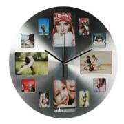 Часы с 12 рамками под фотографии круглые металл большие