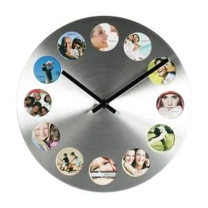 Часы с 12 рамками под фотографии круглые металл маленькие