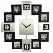 Часы с 12 рамками под фотографии. Метал + дерево