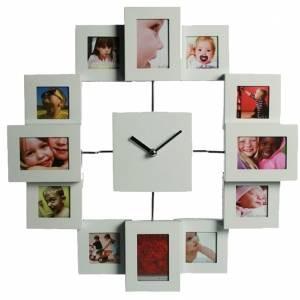 Часы с 12 рамками под фотографии метал белые