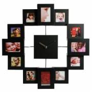 Часы с 12 рамками под фотографии метал черные