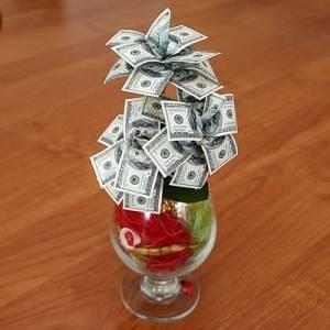 Денежное дерево в бокале большое 100$