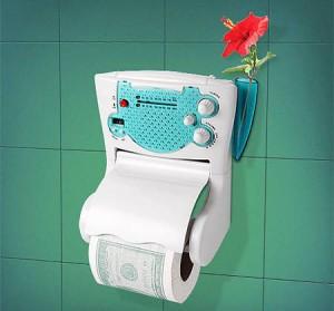 Держатель для туалетной бумаги с радио и часами