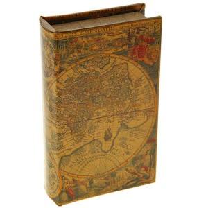 Ключница кожа Старинные карты мира