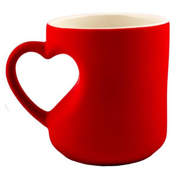 Кружка хамелеон в виде сердца красная