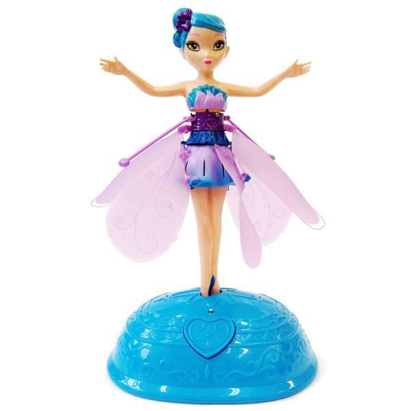 Летающая фея фиолетовая с красивой подсветкой и подставкой