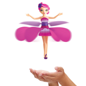 Летающая фея розовая с красивой подсветкой и подставкой