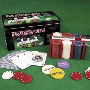 Набор для покера Texas Holdem 200 фишек с номиналом в металлической коробке