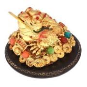 Нэцкэ золотая жаба на камне с надписью