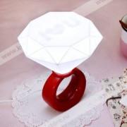 Ночник кристалл Кольцо с бриллиантом бордовый