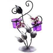 Подсвечник металл 2 свечи Полет бабочек сиреневый
