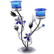 Подсвечник металл 2 свечи Ренессанс бабочек синий