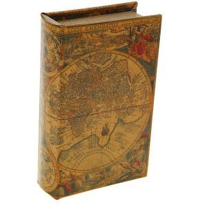 Сейф книга кожа Старинные карты мира