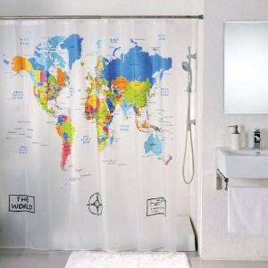 Шторка для ванны Атлас мира