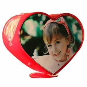 Вращающаяся фоторамка Сердце 3D красная