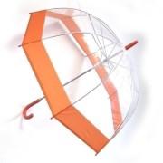 Зонт прозрачный купол оранжевая каемка