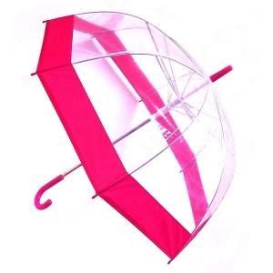 Зонт прозрачный купол сиреневый каемка