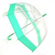 Зонт прозрачный купол зеленый каемка
