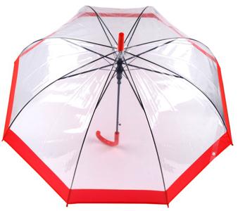 Зонт прозрачный с красной каемкой