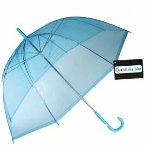 Зонт прозрачный синий трость